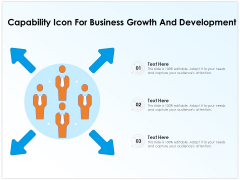 Capability Icon For Business Growth And Development Ppt PowerPoint Presentation Gallery Diagrams PDF