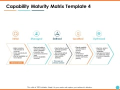 Capability Maturity Matrix Optimized Ppt PowerPoint Presentation Model File Formats