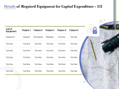 Capex Proposal Template Details Of Required Equipment For Capital Expenditure List Summary PDF