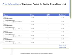 Capex Proposal Template Price Information Of Equipment Needed For Capital Expenditure Mode Topics PDF