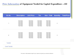 Capex Proposal Template Price Information Of Equipment Needed For Capital Expenditure Price Guidelines PDF