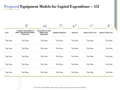Capex Proposal Template Proposed Equipment Models For Capital Expenditure Cost Sample PDF
