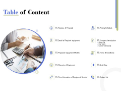 Capex Proposal Template Table Of Content Ppt Gallery Templates PDF