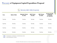 Capex Proposal Template Warranty Of Equipment Capital Expenditure Proposal Designs PDF