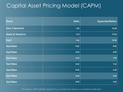 Capital Asset Pricing Model Capm Ppt Powerpoint Presentation Professional Maker