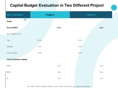 Capital Budget Evaluation In Two Different Project Audiences Attention Ppt PowerPoint Presentation Gallery Information