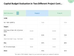 Capital Budget Evaluation In Two Different Project Contd Calendar Ppt PowerPoint Presentation Professional Inspiration