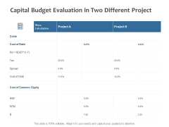Capital Budget Evaluation In Two Different Project Ppt PowerPoint Presentation Inspiration Format