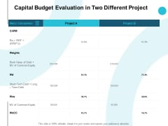 Capital Budget Evaluation In Two Different Project Slide Table Ppt PowerPoint Presentation Designs