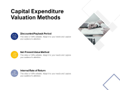 Capital Expenditure Valuation Methods Ppt PowerPoint Presentation Infographics Graphics Tutorials