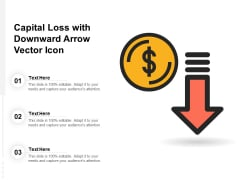 Capital Loss With Downward Arrow Vector Icon Ppt PowerPoint Presentation Gallery Graphics PDF