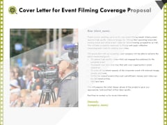 Capture Business Events Cover Letter For Event Filming Coverage Proposal Ppt Outline Example PDF