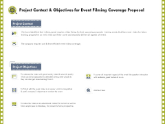 Capture Business Events Project Context And Objectives For Event Filming Coverage Proposal Ppt Styles Rules PDF