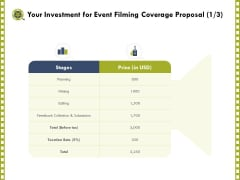 Capture Business Events Your Investment For Event Filming Coverage Proposal Planning Ppt Infographic Template Objects PDF