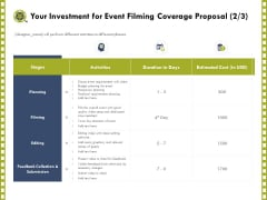 Capture Business Events Your Investment For Event Filming Coverage Proposal Ppt Portfolio Professional PDF