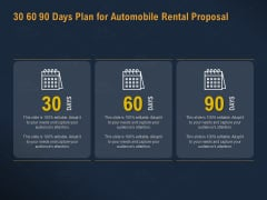 Car Hiring 30 60 90 Days Plan For Automobile Rental Proposal Ppt Portfolio Mockup PDF