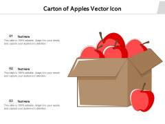 Carton Of Apples Vector Icon Ppt PowerPoint Presentation Gallery Backgrounds PDF