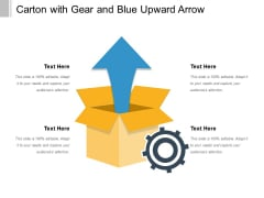Carton With Gear And Blue Upward Arrow Ppt PowerPoint Presentation Outline Guidelines PDF