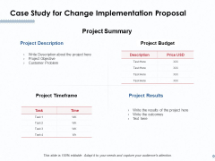 Case Study For Change Implementation Proposal Ppt PowerPoint Presentation Visual Aids Outline