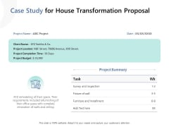 Case Study For House Transformation Proposal Ppt PowerPoint Presentation Model Infographic Template