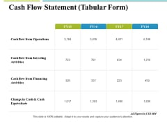 Cash Flow Statement Tabular Form Ppt PowerPoint Presentation Icon Graphics