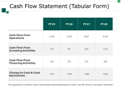 Cash Flow Statement Tabular Form Ppt PowerPoint Presentation Styles Inspiration