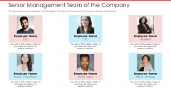 Cash Market Investor Deck Senior Management Team Of The Company Ppt Gallery Graphics Template PDF