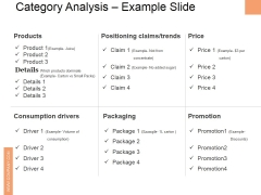 Category Analysis Example Slide Ppt PowerPoint Presentation Icon Slides