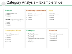 Category Analysis Example Slide Ppt PowerPoint Presentation Pictures Designs Download
