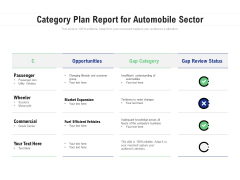 Category Plan Report For Automobile Sector Ppt PowerPoint Presentation File Format PDF
