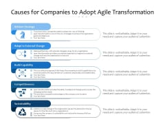 Causes For Companies To Adopt Agile Transformation Ppt PowerPoint Presentation Pictures Diagrams PDF