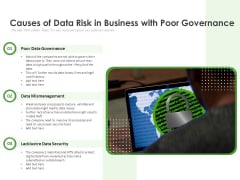 Causes Of Data Risk In Business With Poor Governance Ppt PowerPoint Presentation Infographics Icon PDF