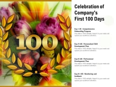 Celebration Of Companys First 100 Days Ppt PowerPoint Presentation Layouts Samples PDF