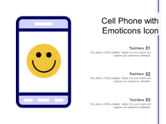 Cell Phone With Emoticons Icon Ppt PowerPoint Presentation Icon Examples PDF