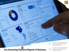 Ceo Assessing Financial Reports Of Business Ppt PowerPoint Presentation Gallery Inspiration PDF