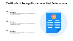 Certificate Of Recognition Icon For Best Performance Icons PDF