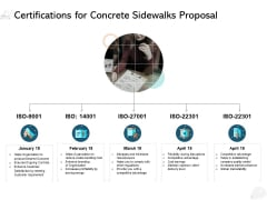 Certifications For Concrete Sidewalks Proposal Ppt PowerPoint Presentation Outline Templates