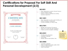 Certifications For Proposal For Soft Skill And Personal Development Market Sample PDF