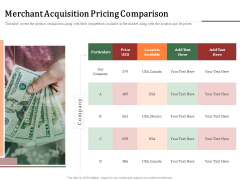 Challenges And Opportunities For Merchant Acquirers Merchant Acquisition Pricing Comparison Slides PDF