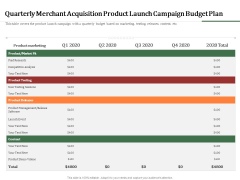 Challenges And Opportunities For Merchant Acquirers Quarterly Merchant Acquisition Product Launch Campaign Budget Plan Structure PDF