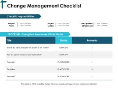 Change Management Checklist Ppt PowerPoint Presentation Portfolio Graphics Download
