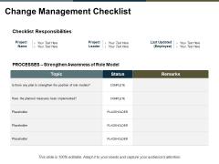 Change Management Checklist Ppt PowerPoint Presentation Portfolio