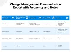 Change Management Communication Report With Frequency And Notes Ppt PowerPoint Presentation Icon Layouts PDF