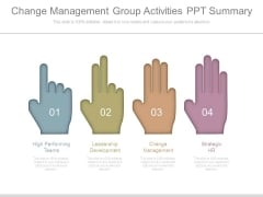 Change Management Group Activities Ppt Summary