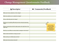 Change Management Questionnaire Feedback Ppt PowerPoint Presentation Pictures Example Introduction
