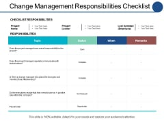 Change Management Responsibilities Checklist Ppt PowerPoint Presentation Styles Example Topics