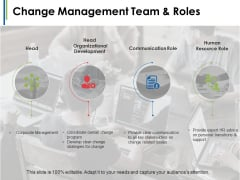 Change Management Team And Roles Ppt PowerPoint Presentation Model Design Ideas
