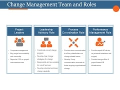 Change Management Team And Roles Template 1 Ppt PowerPoint Presentation Model