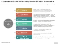 Characteristics Of Effectively Worded Vision Statements Ppt PowerPoint Presentation Show