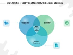 Characteristics Of Good Vision Statement With Goals And Objectives Ppt PowerPoint Presentation File Format PDF